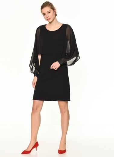 Random Tül Detaylı Kolu Gipeli Elbise Siyah